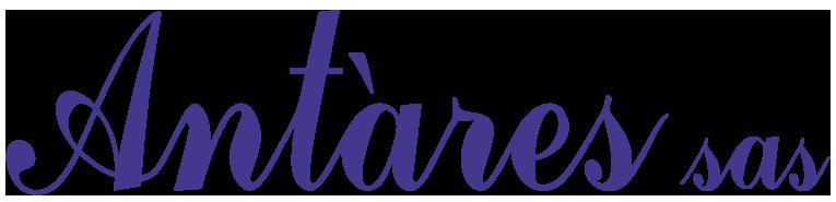 Il logo di Antares sas. Indaco su trasparente.