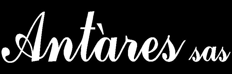 Il logo di Antares sas. Bianco su trasparente.