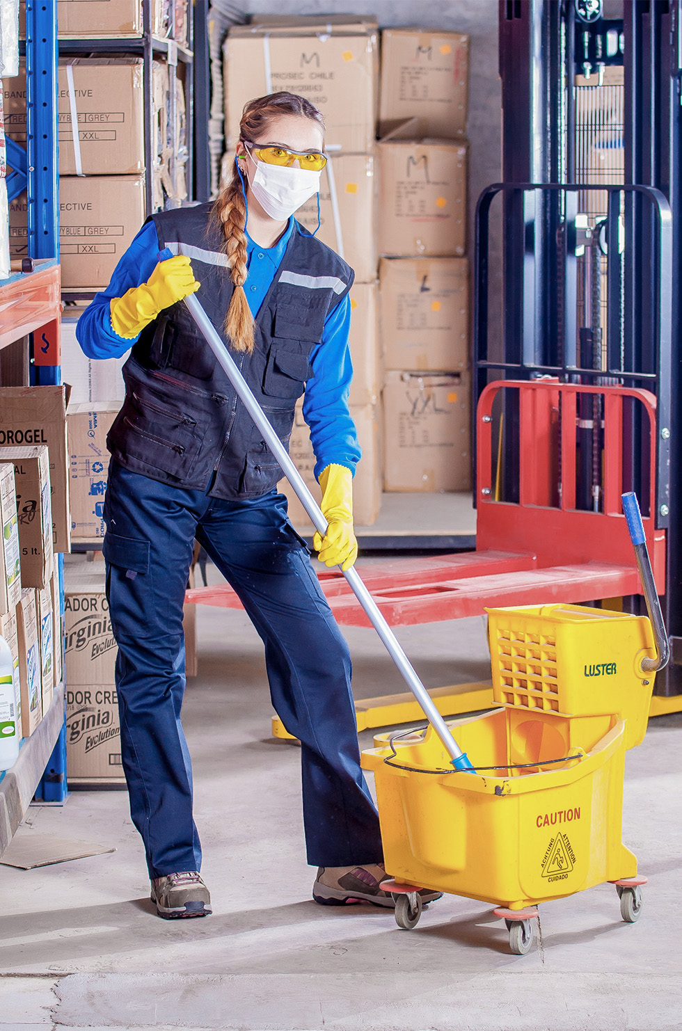 A woman employee cleaning