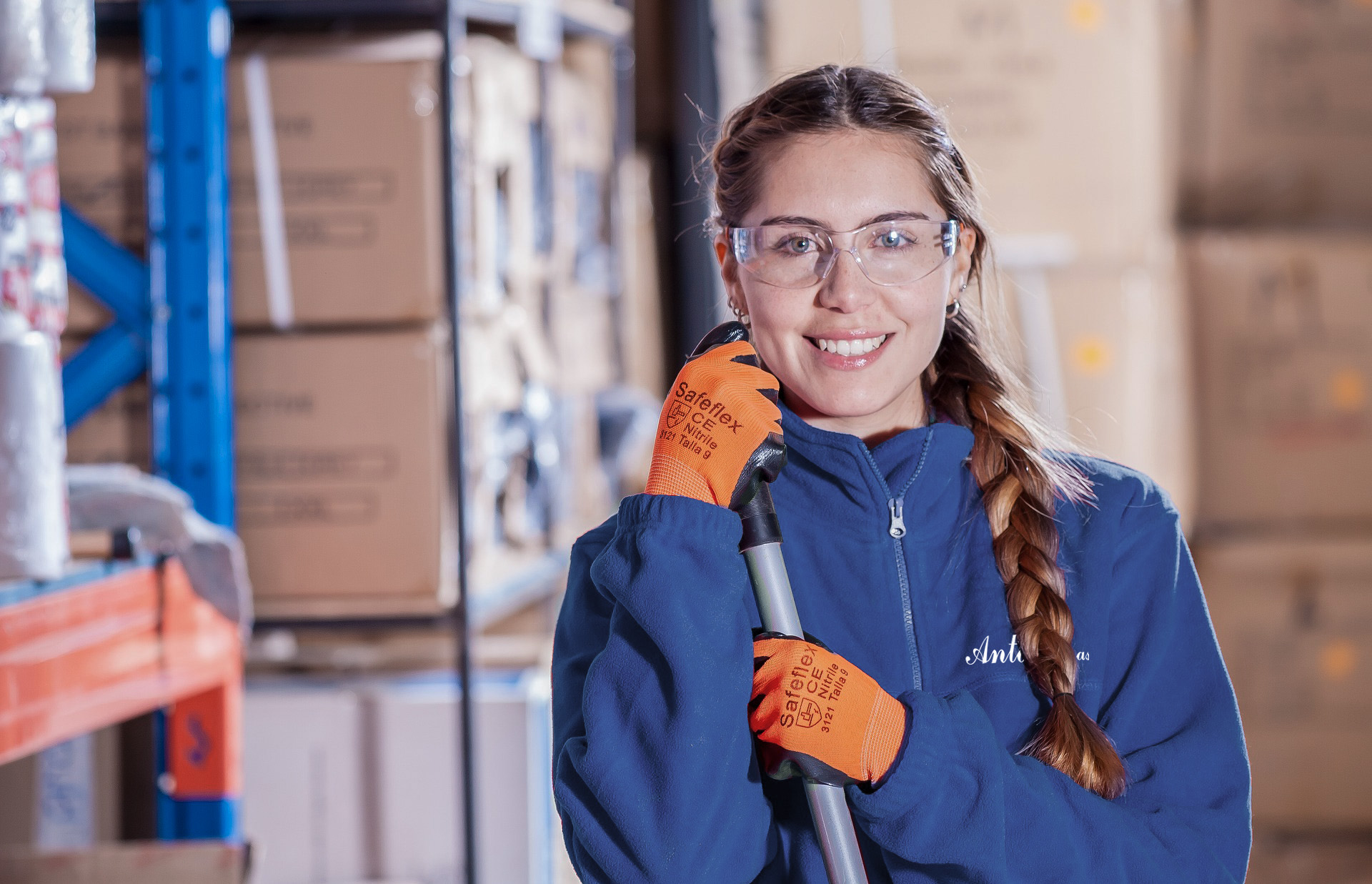 An employee smile while is working